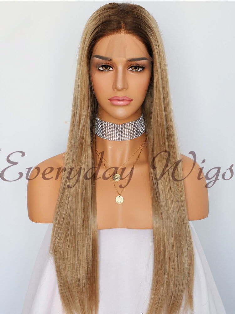 Ombre Braune Gerade Lange Synthetische Lace Front Perücken