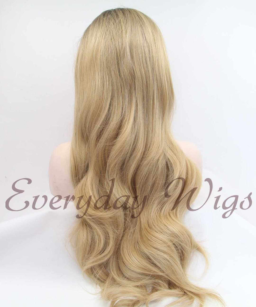 Ombre Blond Lange Wellige Synthetische Lace Front Perücken