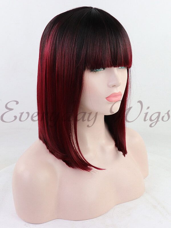 Ombre Rote kurze Synthetische Lace Front Perücken mit Knall