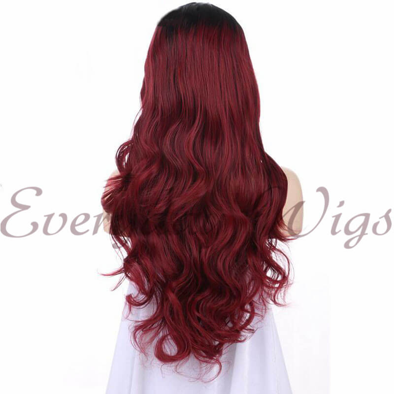 Ombre Rote Wellige Lange Synthetische Lace Front Perücken