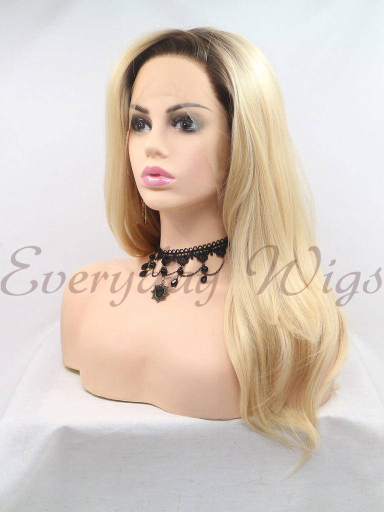 Ombre Blond Wellige  Synthetische Lace Front Perücken