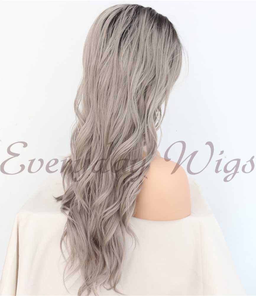 Ombre Graue Lange Wellige Synthetische Lace Front Perücken
