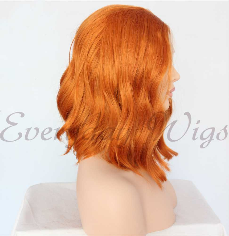 Orange kurze Wellige Synthetische Lace Front Perücken