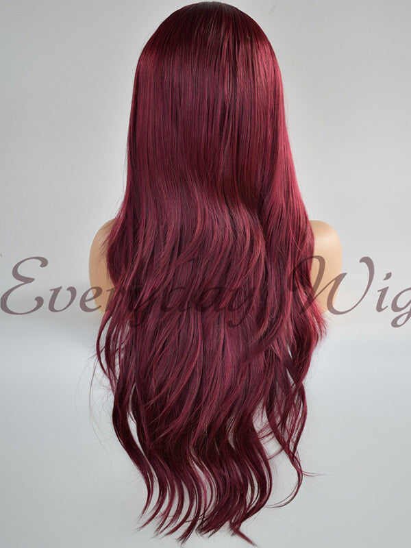 Rote Wellige Lange Synthetische Lace Front Perücken