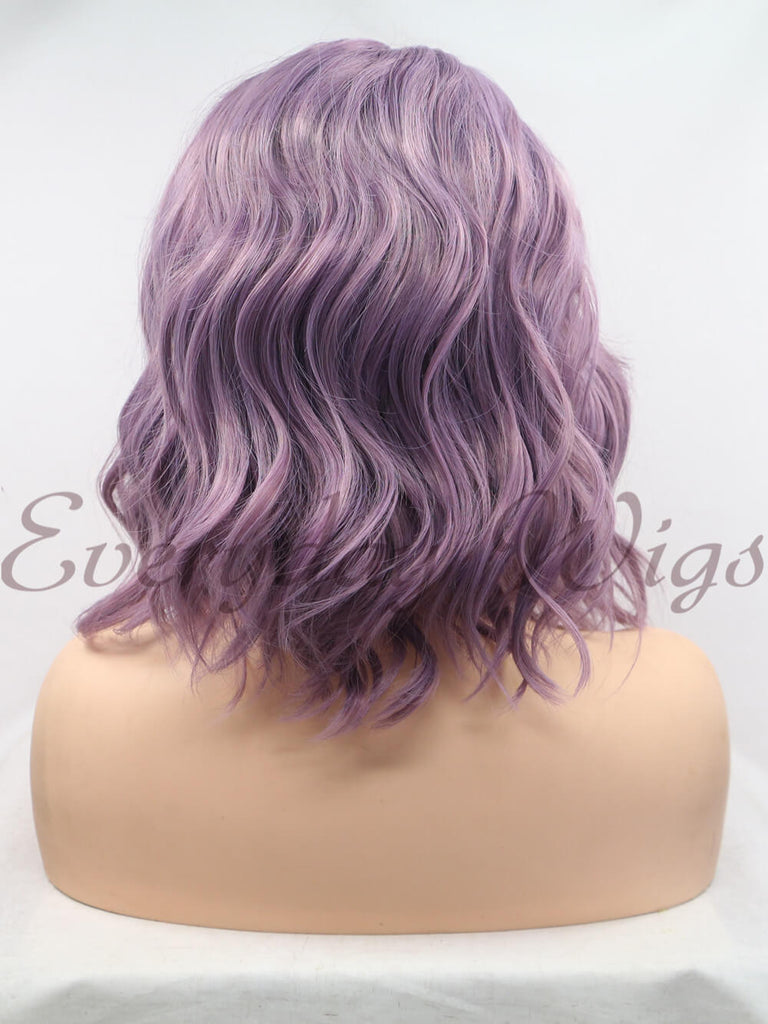 Lila kurze Wellige  Synthetische Lace Front Perücken