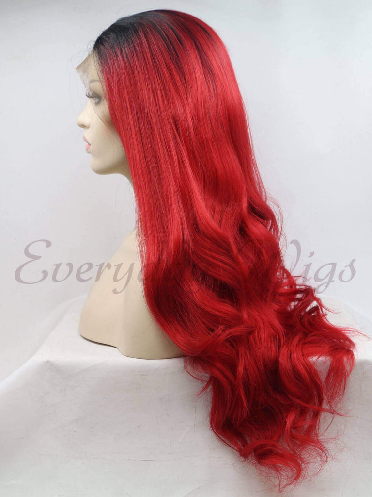 Ombre Rote Lange Wellige  Synthetische Lace Front Perücken