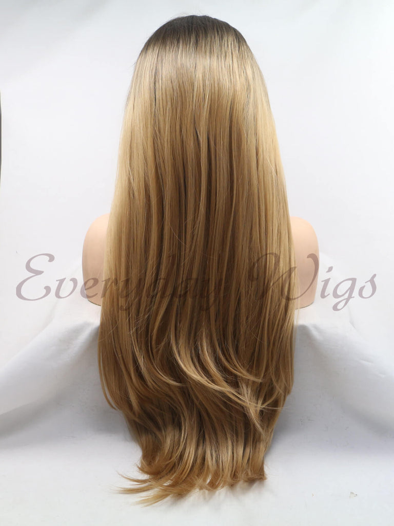 Ombre Braune Wellige Lange Synthetische Lace Front Perücken