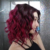 Ombre Rote Wellige kurze Synthetische Lace Front Perücken