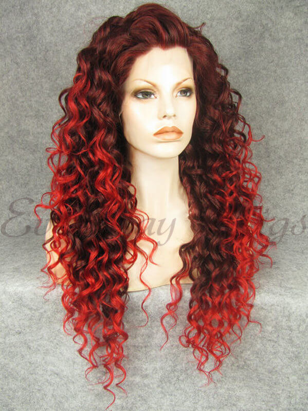 Ombre Rote Lockige Lange Synthetische Lace Front Perücken