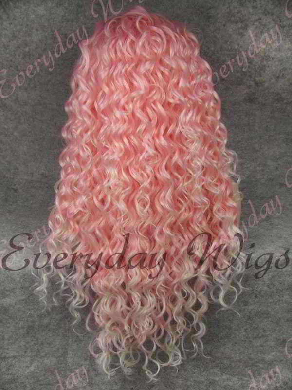 Ombre Rosa Lockige Lange  Synthetische Lace Front Perücken