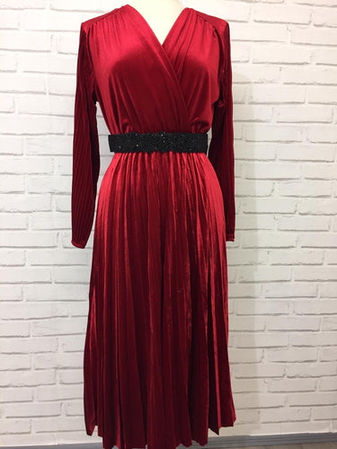 Velvet Pleat Dress