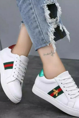 White Trainer with red/green stripe - KC Dresses