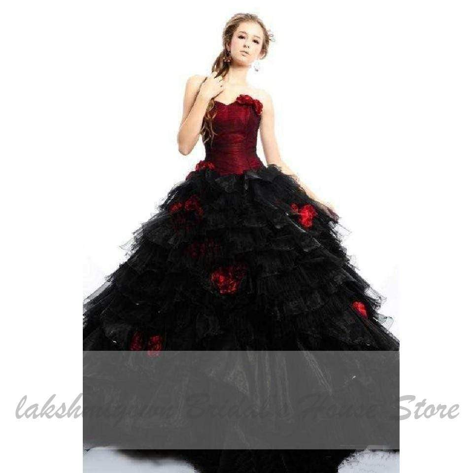 Gothic Black and Red Wedding Gowns Strapless Elegant 20D Flowers ...