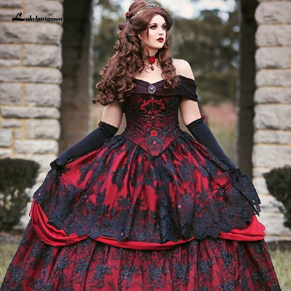 Luxury Red and Black Wedding Dresses Vintage Lace