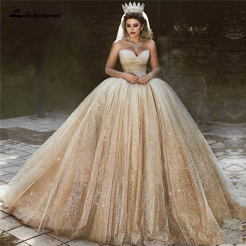Champagne Gold Wedding Dresses 2020 Sequins Princess Ball Gown - ROYCEBRIDAL OFFICIAL STORE