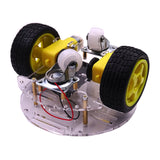 Robot car chassis with motors, gearboxes and battery holder