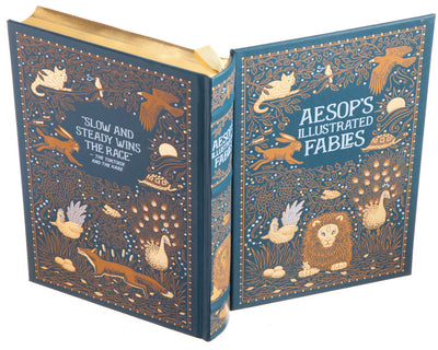 Hollow Book Safe: Aesop's Illustrated Fables (Leather-bound)