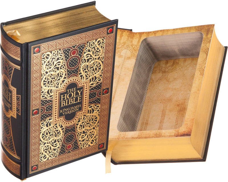 Hollow Book Safe: The Holy Bible - King James Version (Leather-bound)