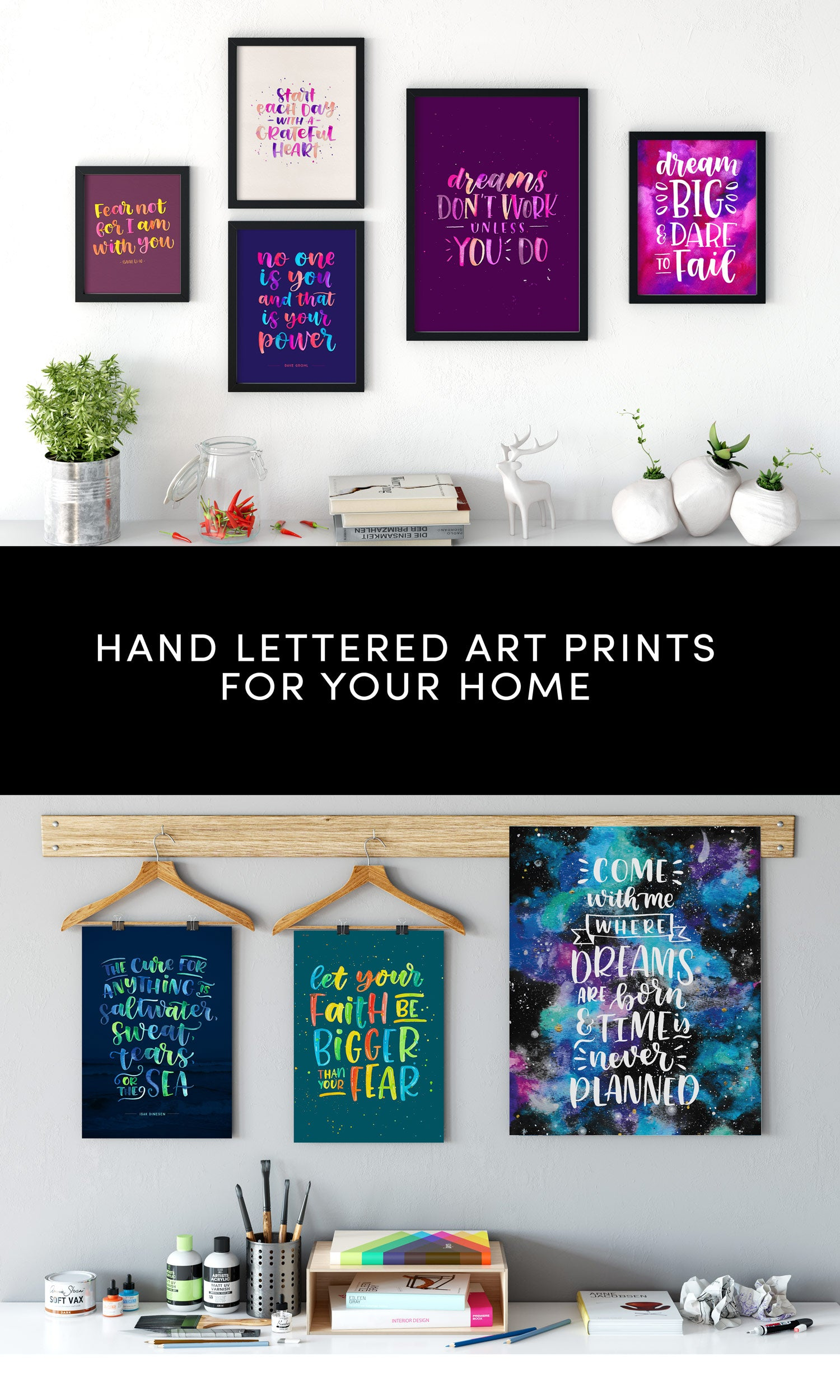 colorful hand lettered quote posters