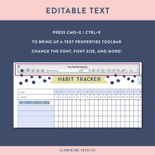 editable habit tracker printable