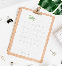 printable 2020 desk calendar with modern and minimalist design
