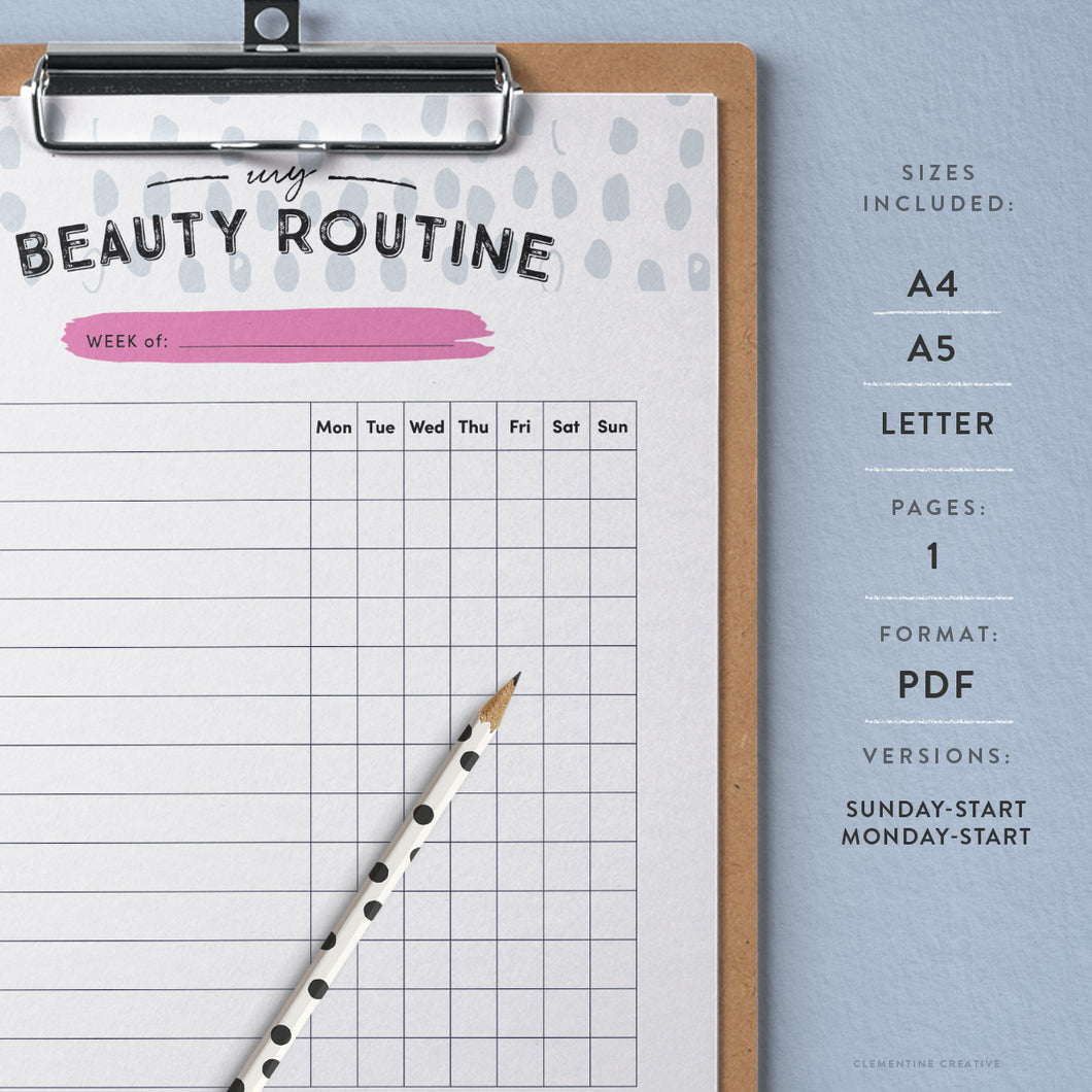 printable beauty routine tracker clementine creative