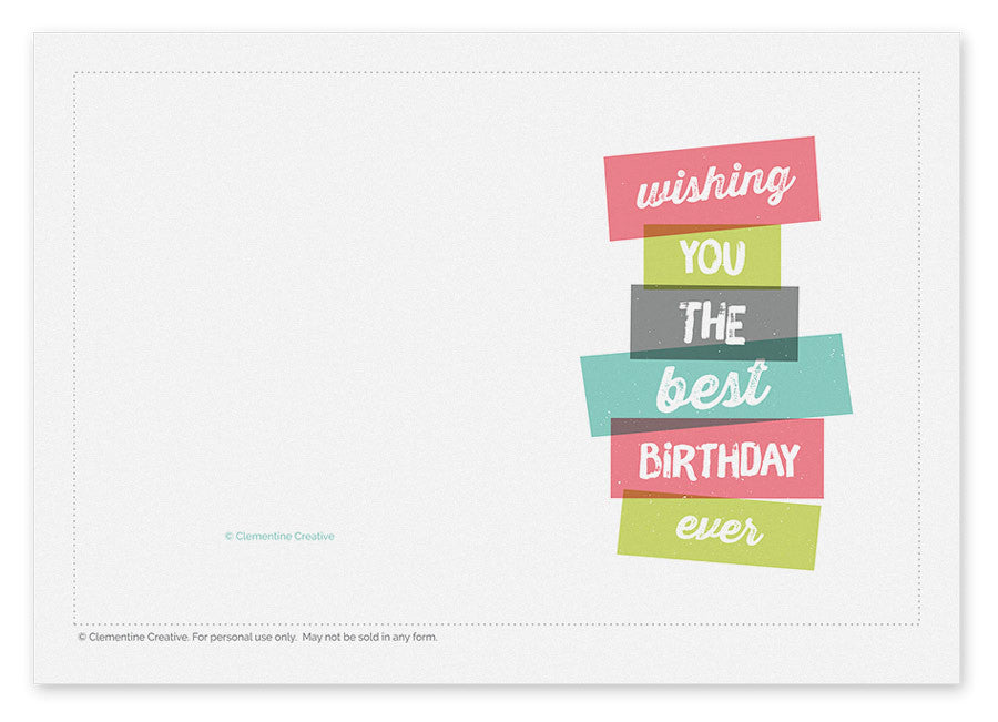 Printable Birthday Card For Him Clementine Creative