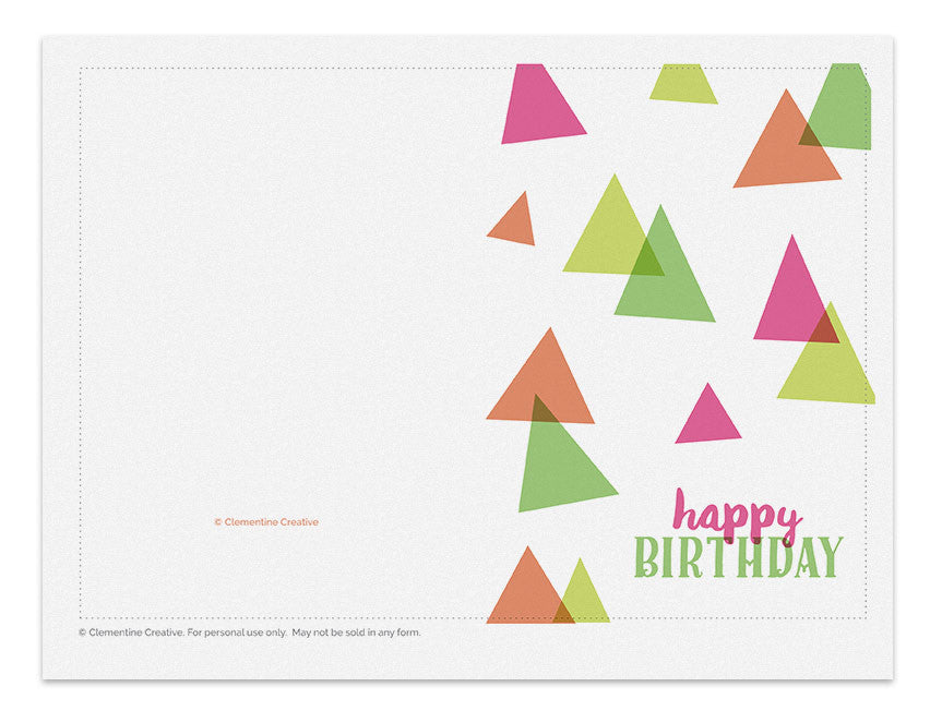 Printable Birthday Card Party Hats Clementine Creative