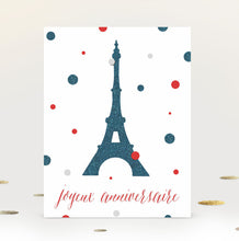 french printable birthday card with eiffel tower