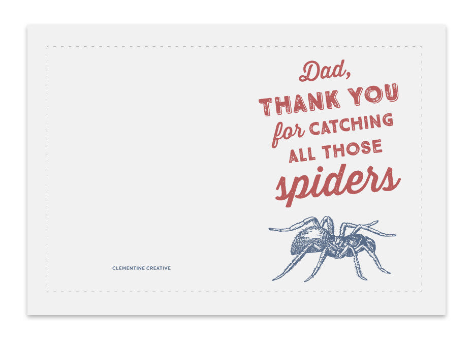 photograph regarding Funny Printable Father's Day Cards identify Printable Fathers Working day Card - Spider