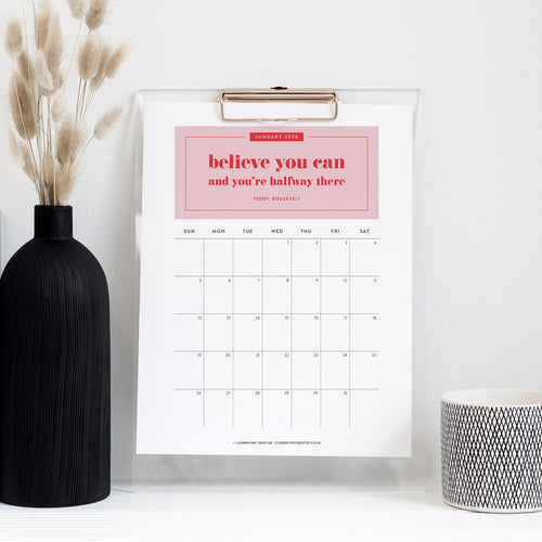 printable 2020 calendar with inspirational quotes