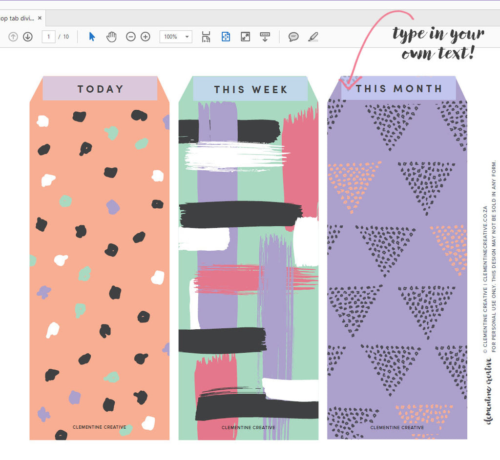 image relating to Printable Tabs identify Printable Supreme Tab Dividers for Planners, Diaries and Agendas