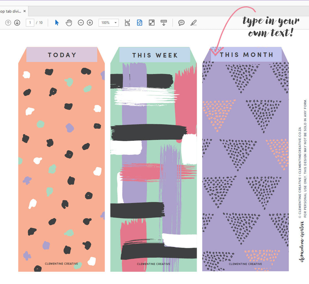 picture relating to Printable Dividers titled Printable Greatest Tab Dividers for Planners, Diaries and Agendas