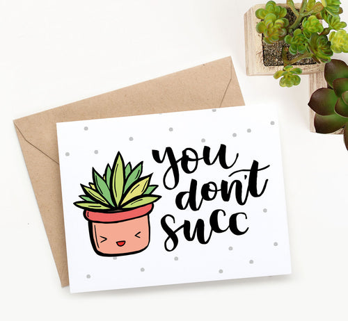 This cute printable Valentine's Day card with adorable hand-drawn succulent and hand lettered