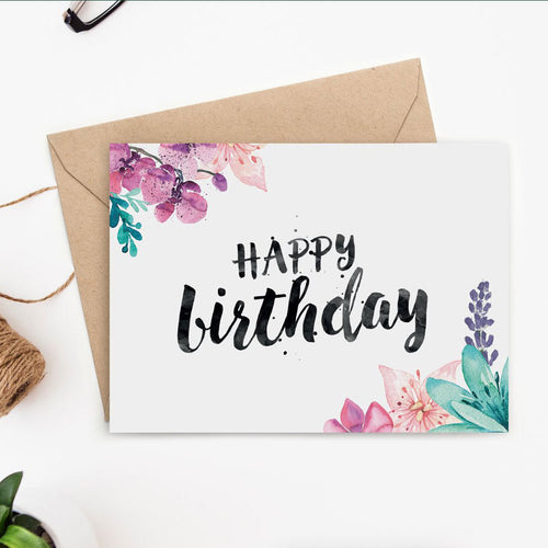printable birthday card for her with watercolor florals