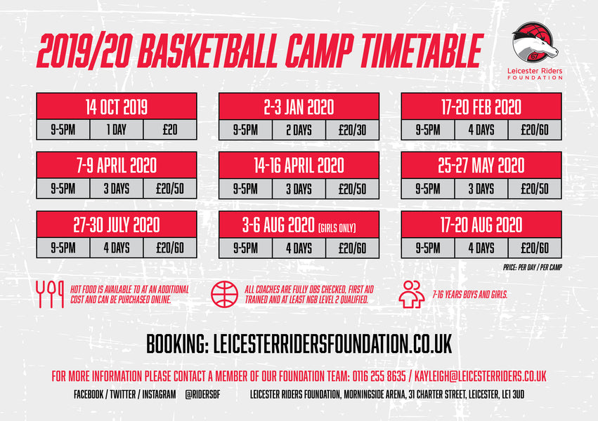 Our New 2019/20 Camp Timetable!