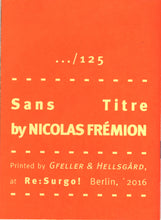 Mini Zine | Sans Titre by Nicolas Frémion