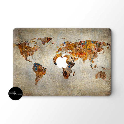 Vintage World Map MacBook Skin - Coco and Toffee