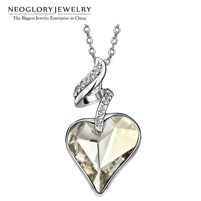 Neoglory Austrian Crystal Rhinestones Heart Love Chain Necklaces & Pendants