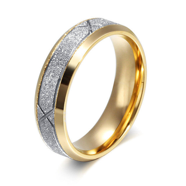 Vnox fashion couple ring for women men frosted matte stainless steel with CZ lover wedding engagement rings