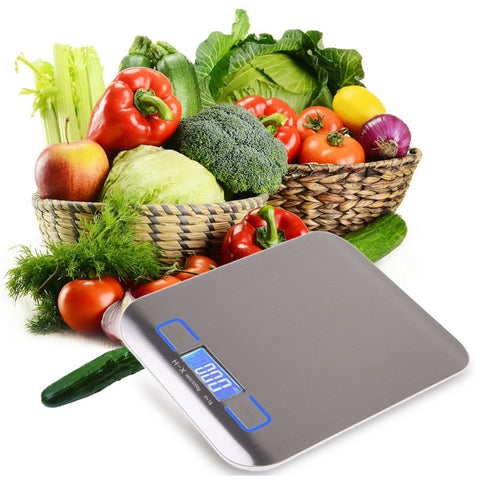 Stainless Steel Electronic Kitchen Scales with LCD Screen Display 5kg