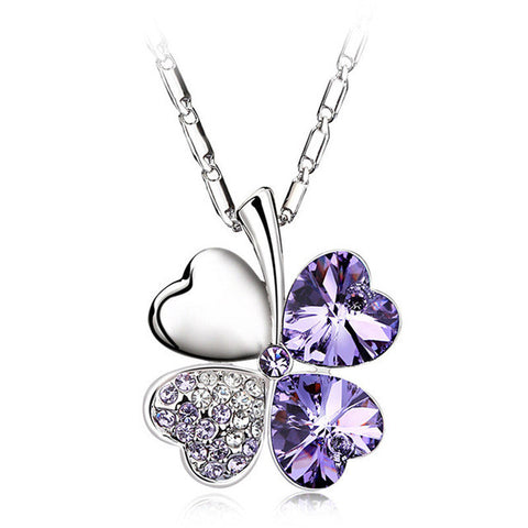 Heart Chains Silver Crystal Clover Charm for Women