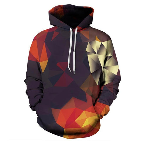 Autumn Block Hoodie with Hat Printed Design