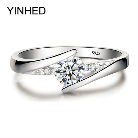 YINHED 100% Pure 925 Sterling Silver Luxury Wedding Ring