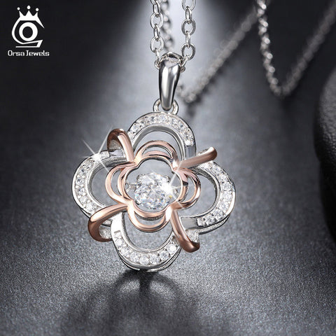 ORSA JEWELS Genuine 925 Silver Cute Flower Pendant Necklaces