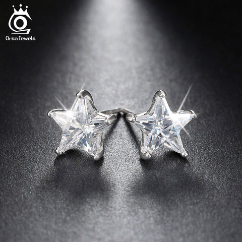 ORSA JEWELS Pure 925 Sterling Silver Earrings 0.8ct Cubic Zircon Star Stud Earring