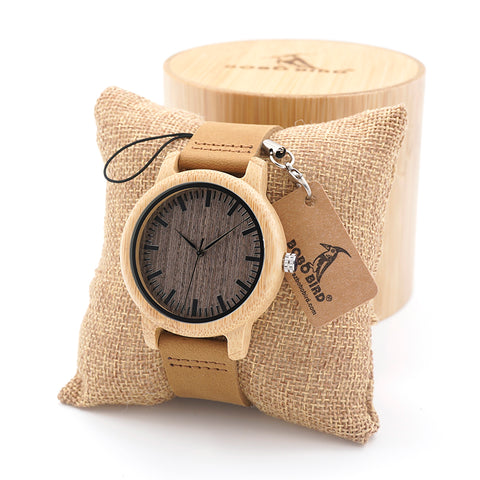BOBO BIRD Handmade Bamboo Wood Watch with Real Leather Band in Gift Box