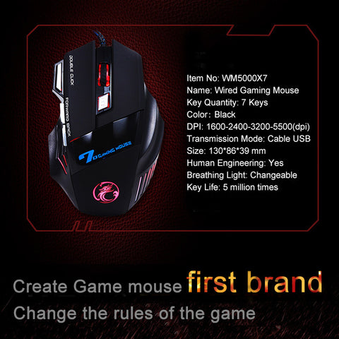 Professional Wired Gaming Mouse 5500DPI Adjustable 7 Buttons Cable USB LED Optical Gamer Mouse  For PC Computer Laptop Mice X7