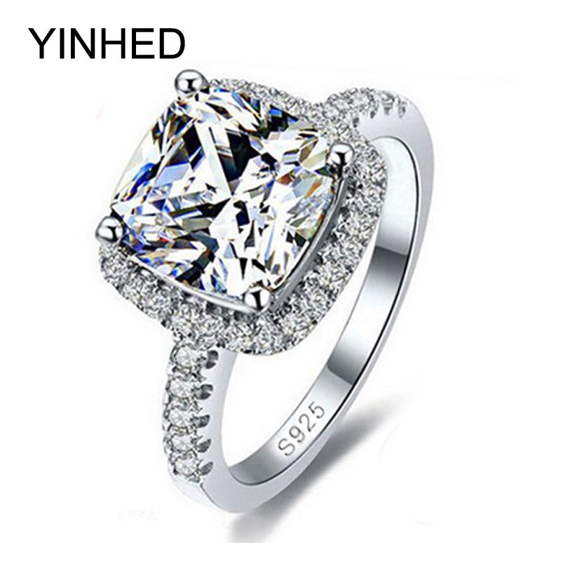 YINHED 100% 925 Sterling Silver Ring Jewelry Stamped S925 Big 4 Carat CZ Diamant Wedding Rings For Women SIZE 5 6 7 8 9 10 Z001