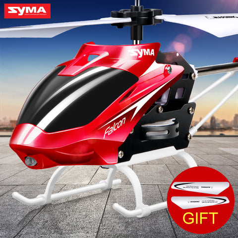 Official SYMA RC Helicopter Mini Indoor Aluminum with Light Built in Gyroscope Remote Control Drone Toys Red Yellow Color